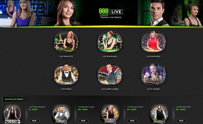 live casino at 888
